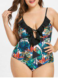 Ruffle Trim Plus Size Leaf Print One Piece Swimsuit -