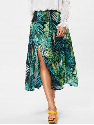 High Rise High Split Leaf Print Chiffon Skirt -
