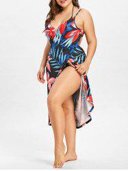 Tropical Plant Print Plus Size Cover Up Dress -