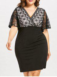 Plus Size Lace Insert Fitted Work Dress -