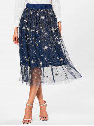 High Waisted Galaxy Print A Line Skirt -