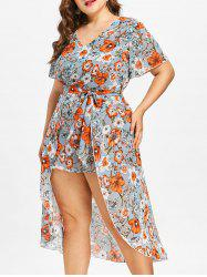 Plus Size Floral Print High Low Dress -