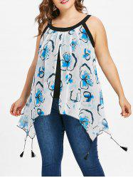 Plus Size Print Overlay Tank Top -