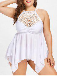 Crochet Lace Panel Plus Size Handkerchief Tankini -