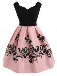 Sleeveless Print Vintage Dress -