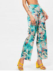 Bohemian High Waisted Floral Wide Leg Pants -