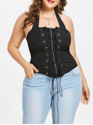 Plus Size Halter Neck Lace Up Tank Top -