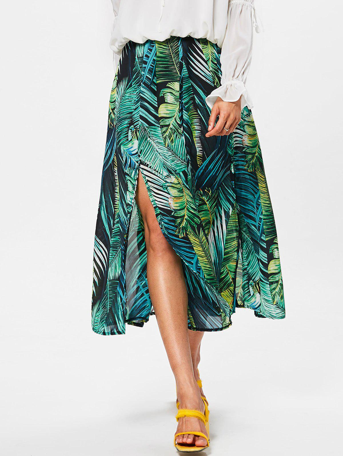 Chic High Rise High Split Leaf Print Chiffon Skirt