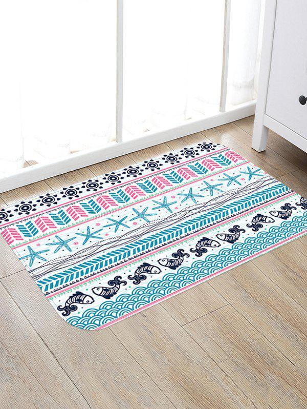 Affordable Sea Fishes Starfishes Pattern Skidproof Floor Area Rug