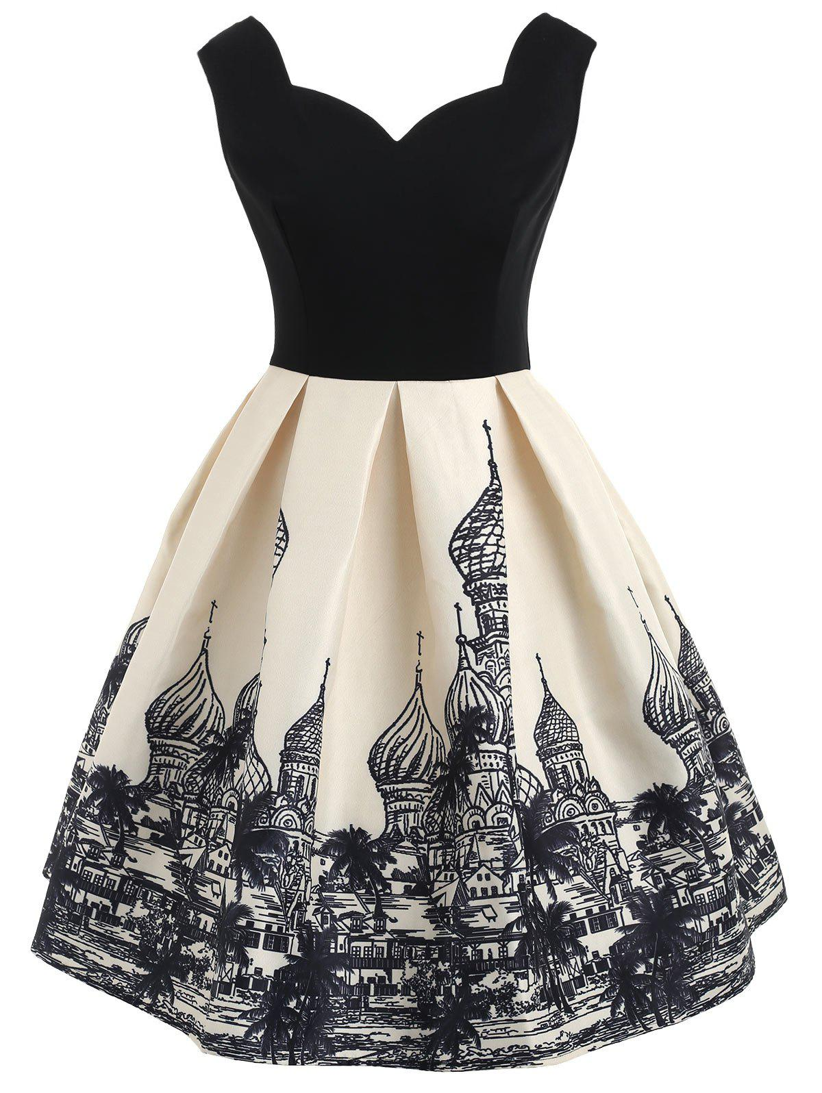 Affordable Architecture Print Sleeveless Vintage Dress