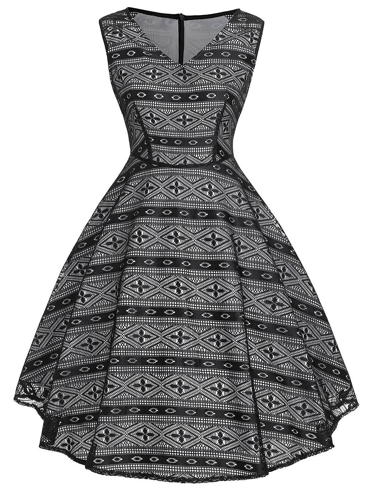 Cheap Vintage Geometric Print Flare Dress