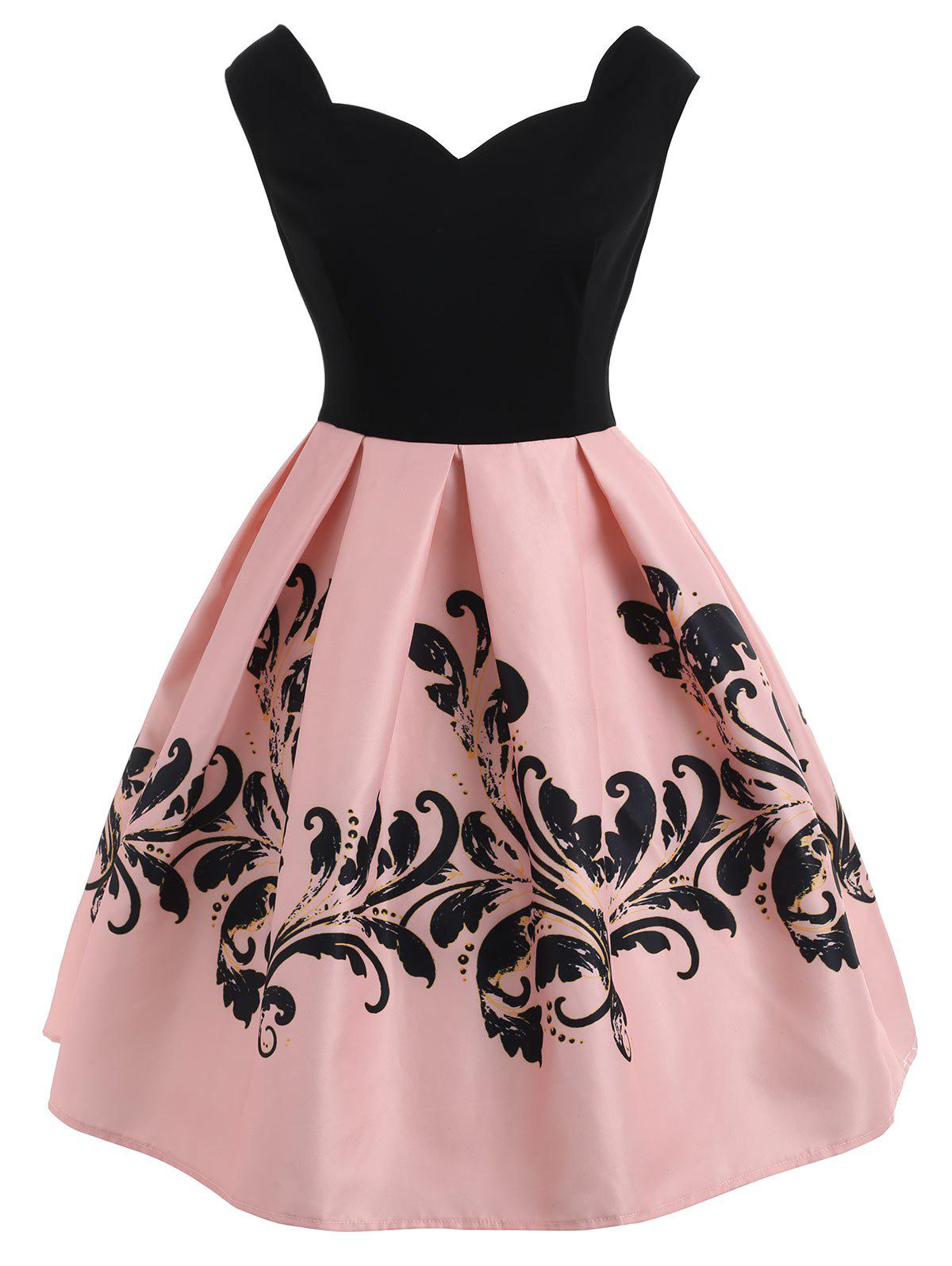 Trendy Sleeveless Print Vintage Dress