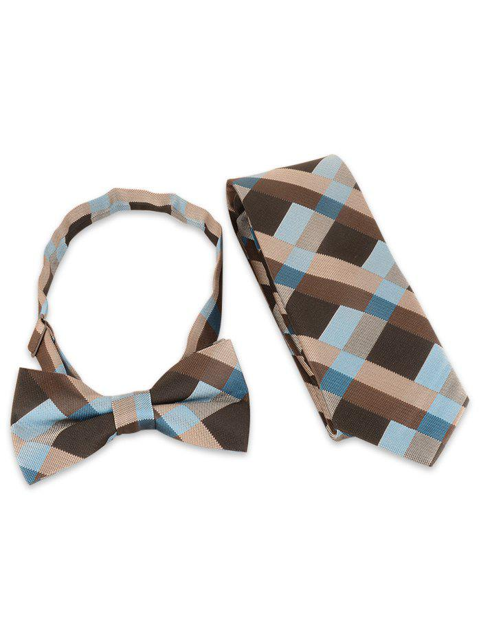 Online Plaid Pattern Adjustable Bow Tie and Shirt Tie