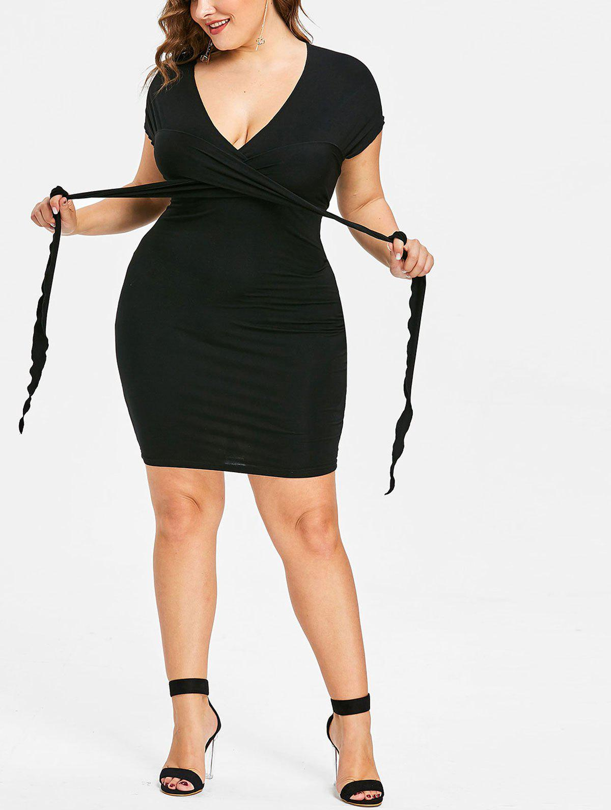Unique Plus Size Self Tie Fitted Dress