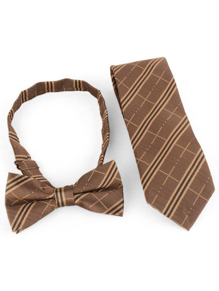 Buy Striped Pattern Silk Shirt Tie and Bowtie Set
