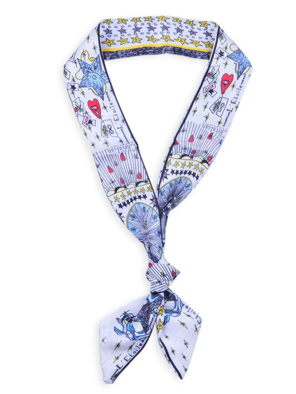 Hot Star Heart Letter Pattern Hair Wrap Bag Handle Decorative Scarf