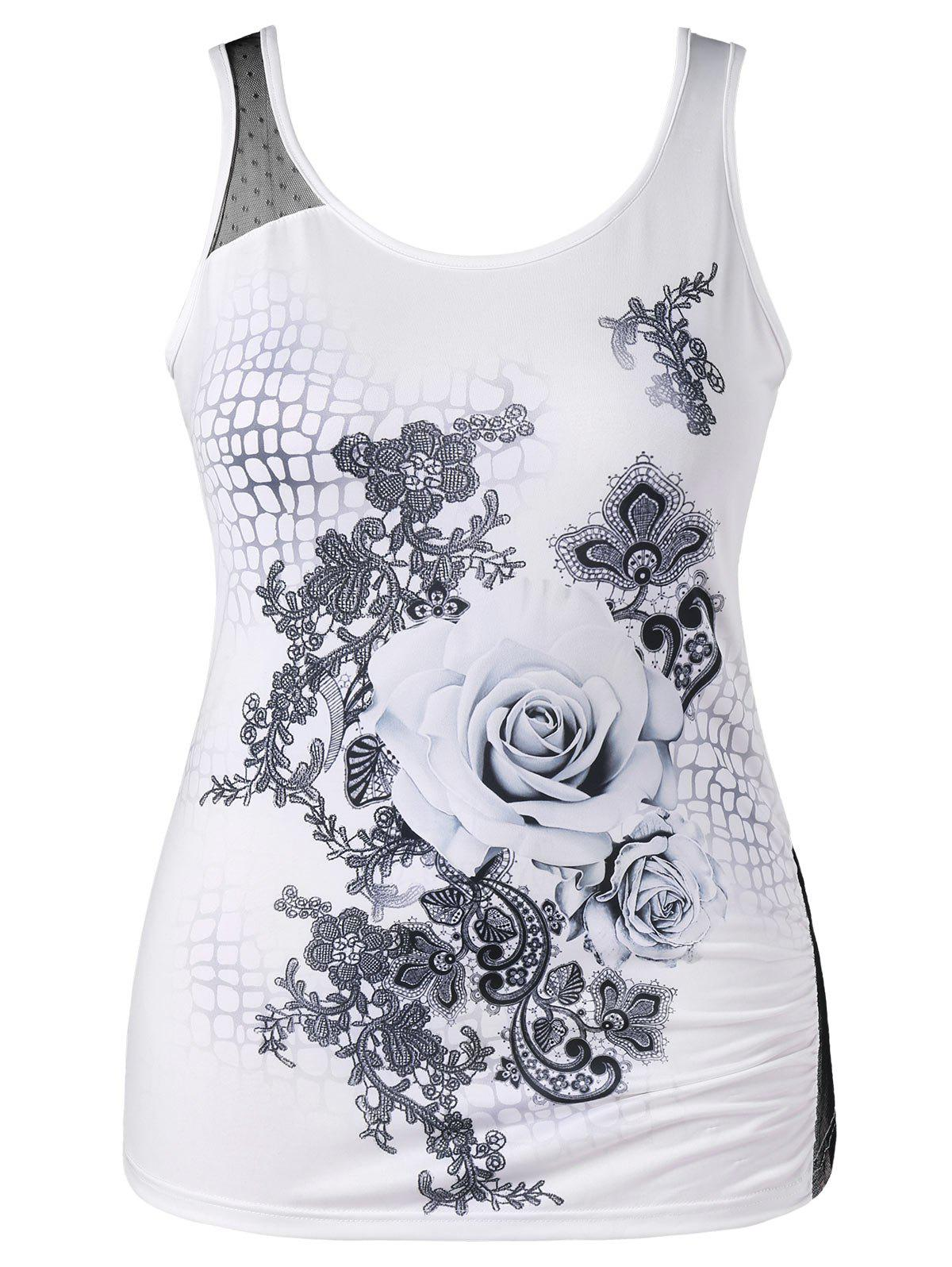 Latest Plus Size Rose Print Tank Top