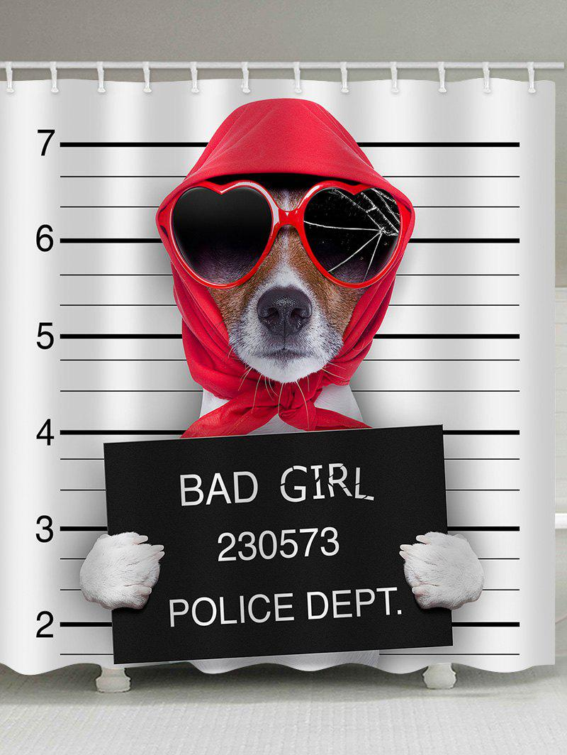 Outfit Mugshot of Wanted Dog Holding a Banner Print Shower Curtain
