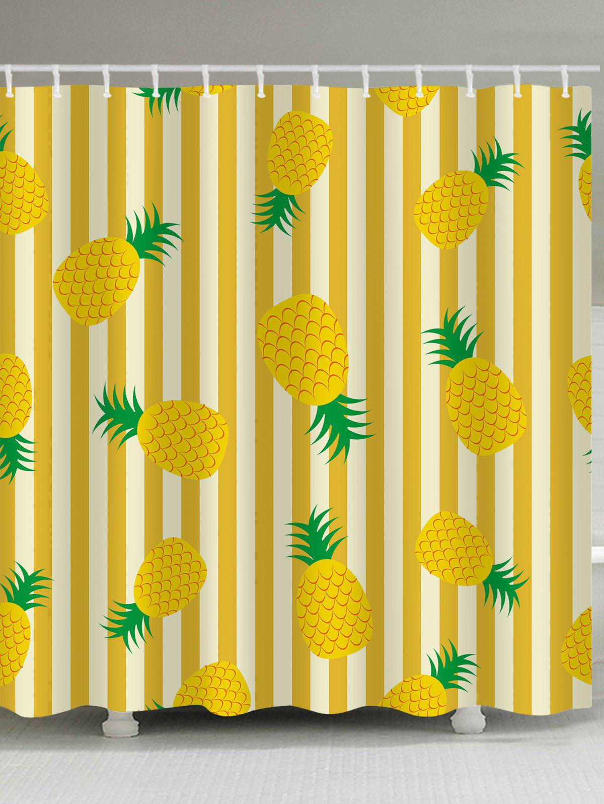Best Stripes Pineapples Printed Shower Curtain Bath Decor