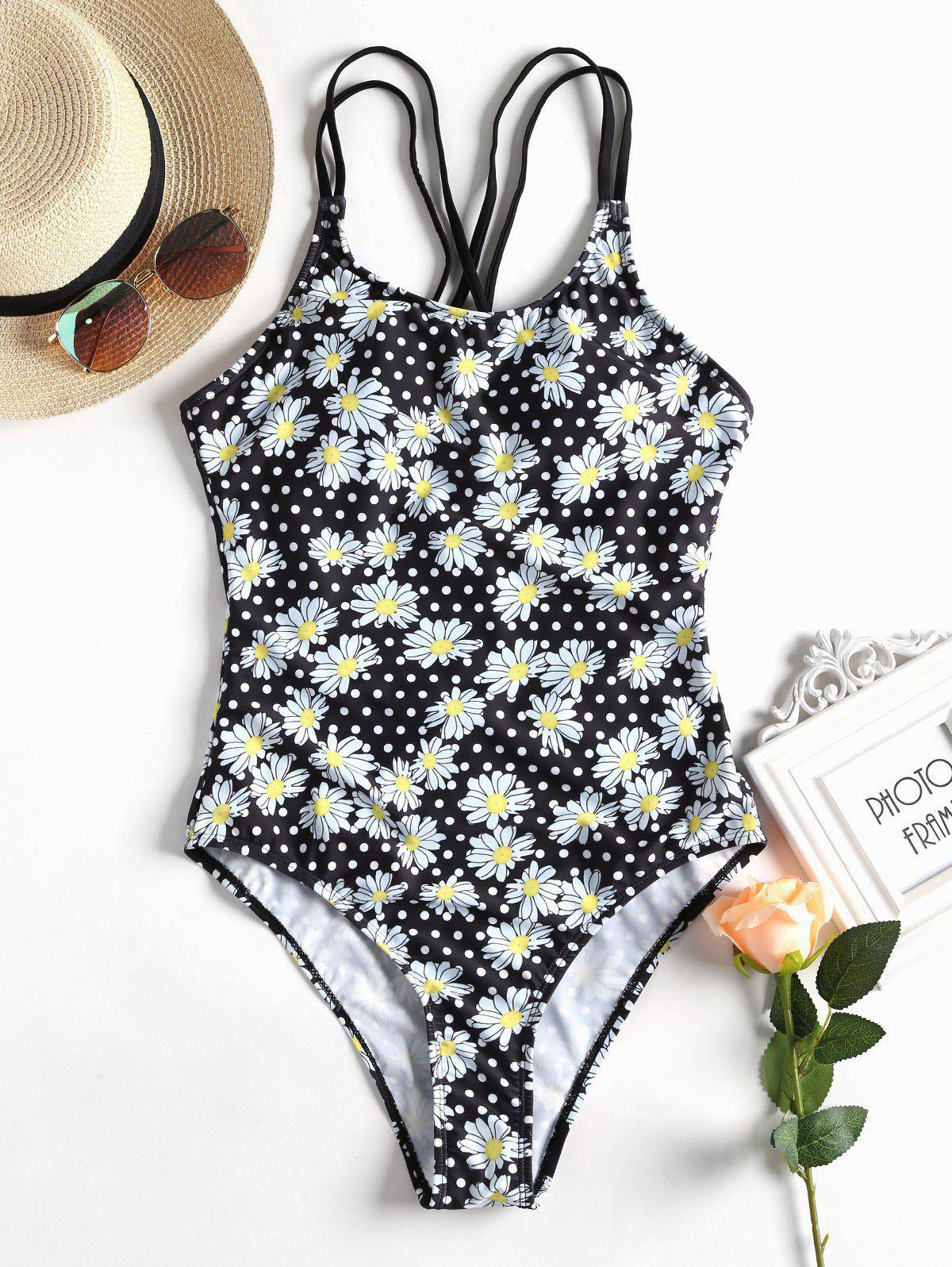 Trendy High Cut Floral Polka Dot Swimsuit