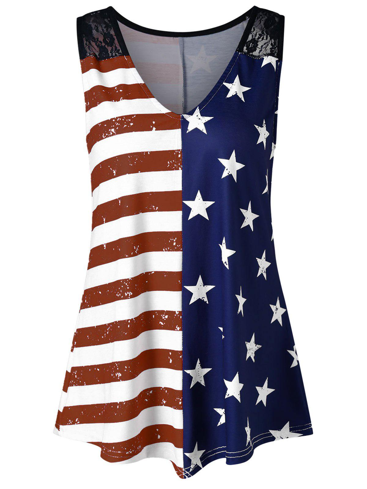 Store Lace Panel American Flag Trapeze Tank Top