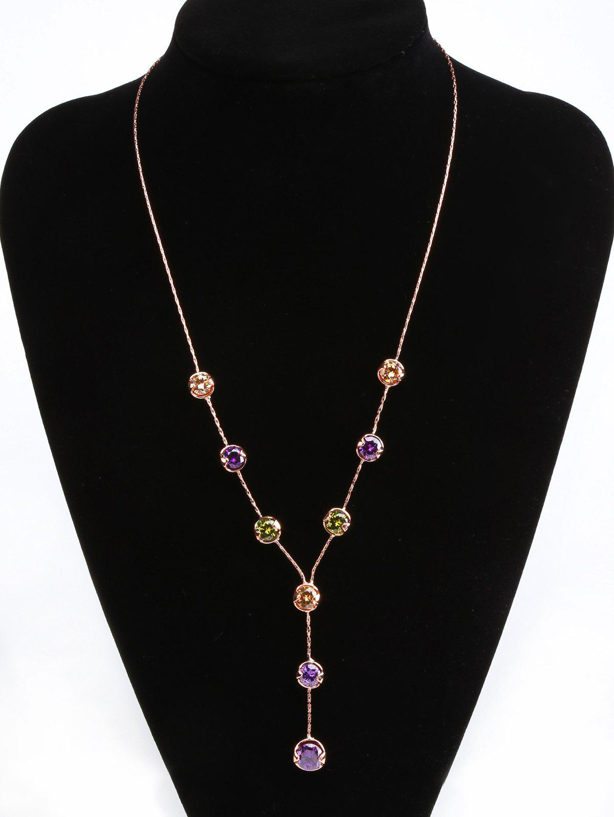 New Artificial Gemstone Y-Shaped Pendant Necklace