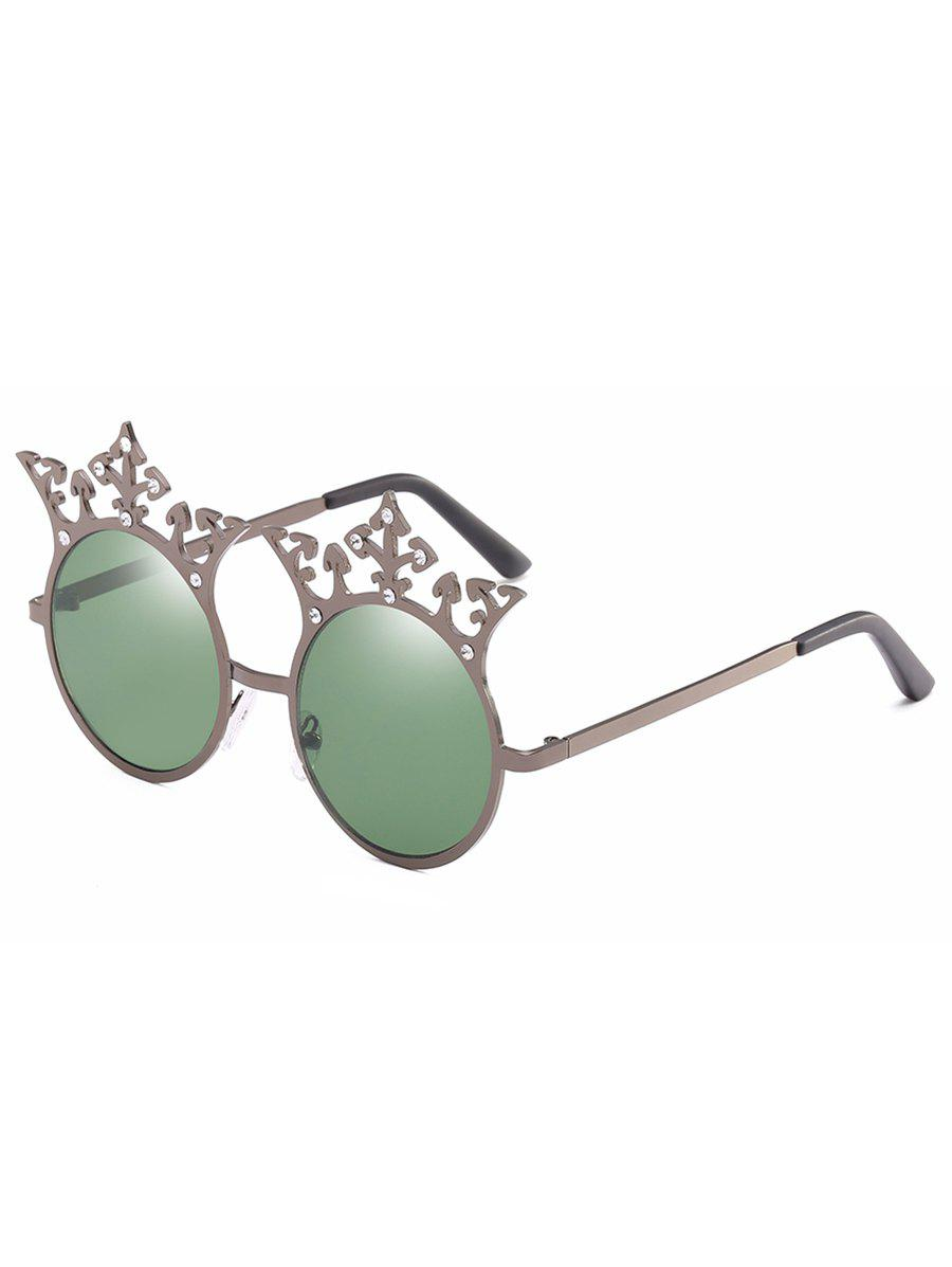 Affordable Crown Rhinestone Sun Shades Circle Sunglasses