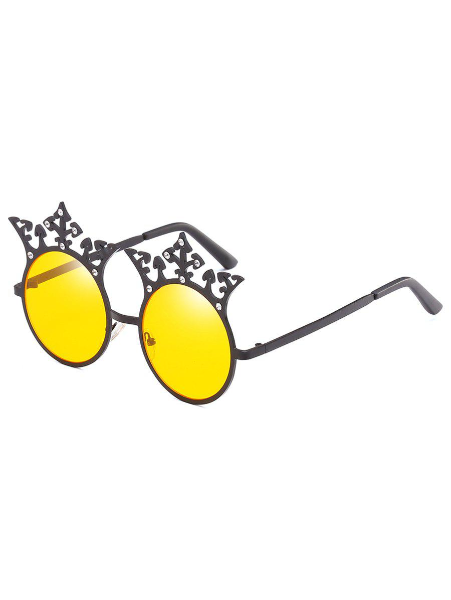 Latest Crown Rhinestone Sun Shades Circle Sunglasses