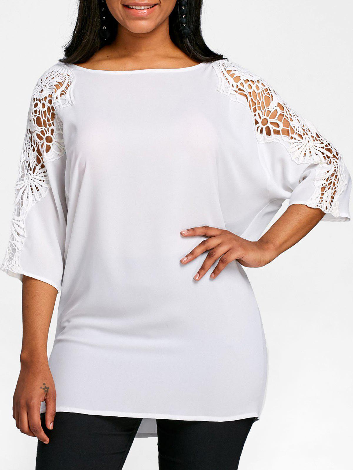 Fancy Lace Panel Batwing Sleeve Tunic T-shirt