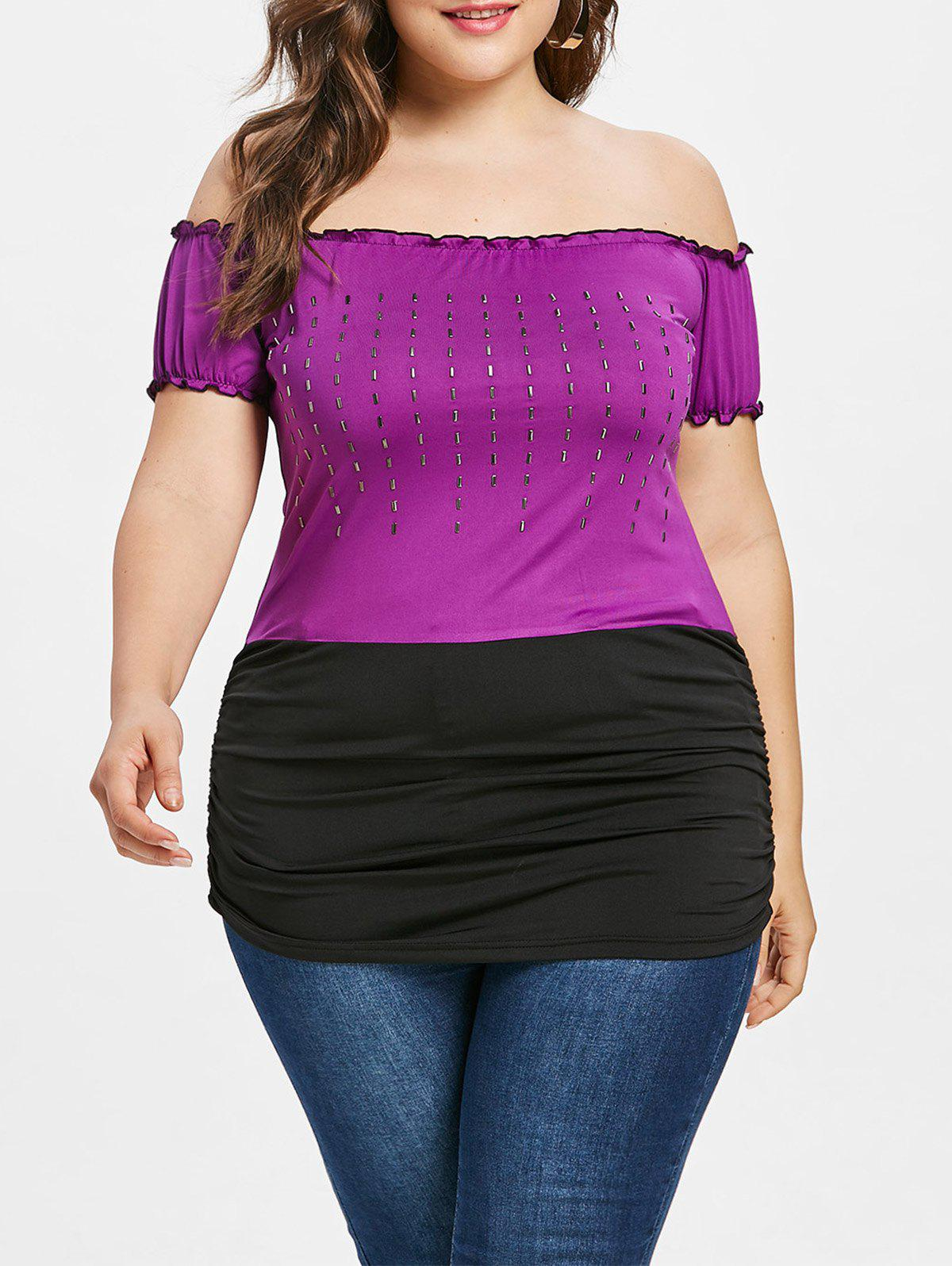 Outfit Plus Size Off The Shoulder Embellished T-shirt