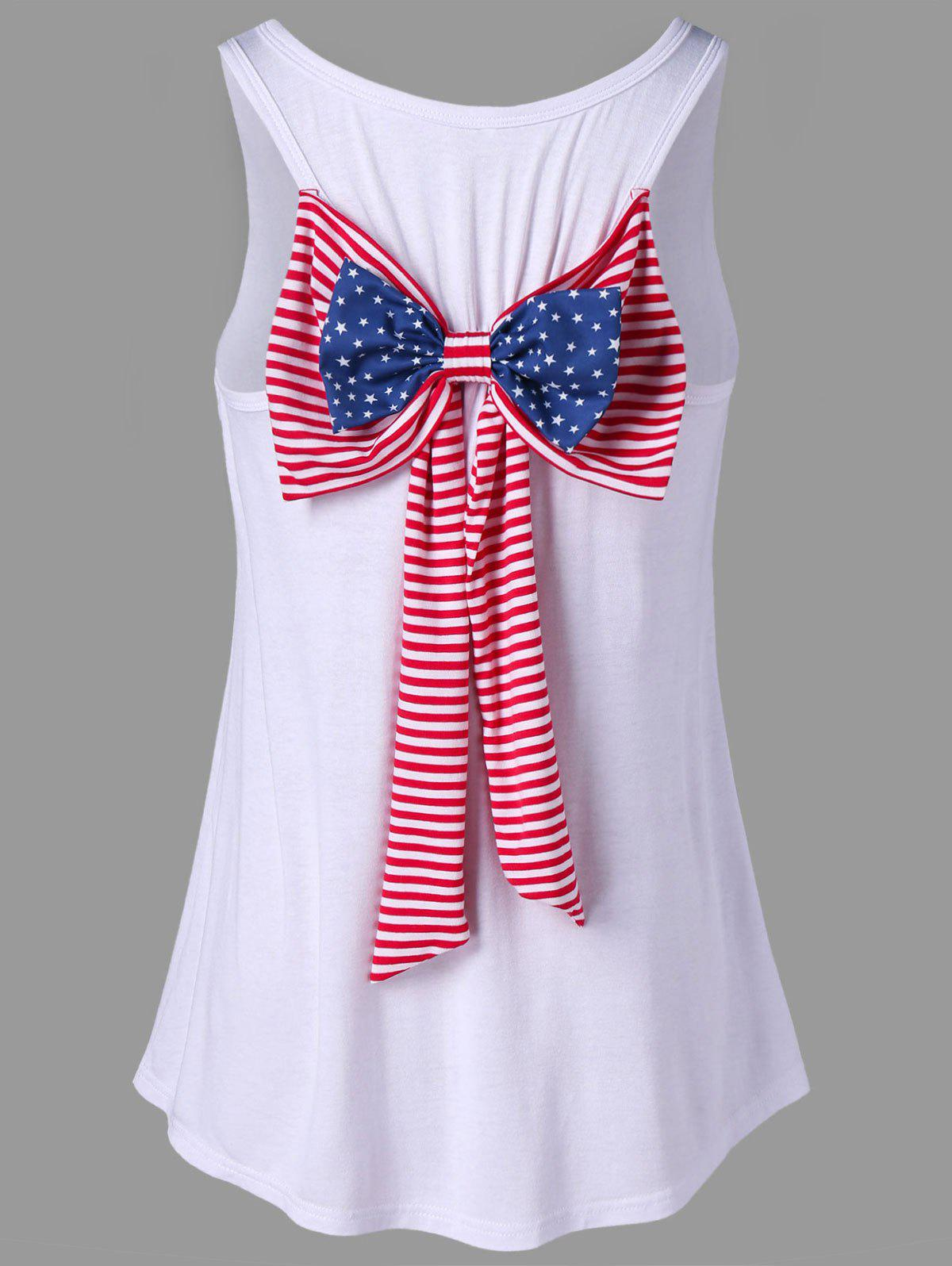 Fancy American Flag Bowknot Embellished Racerback Tank Top