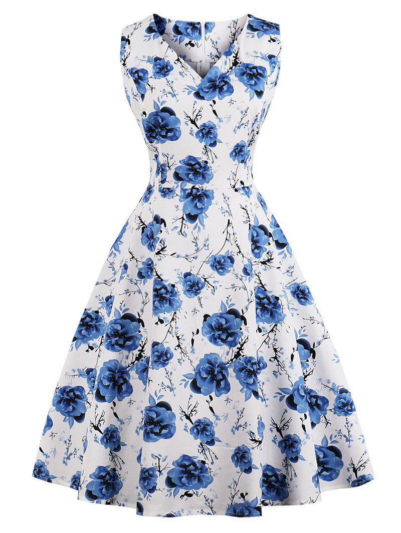 Cheap Retro Floral Print Fit and Flare Dress