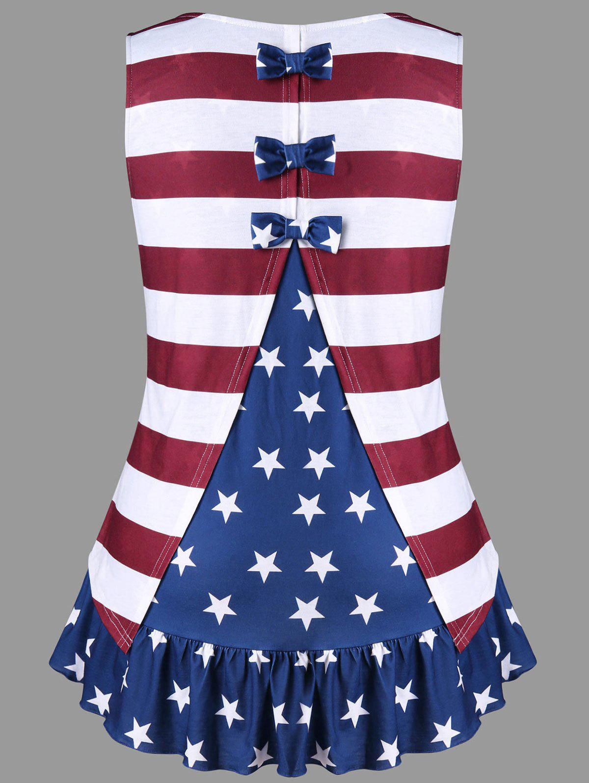 Fashion Plus Size American Flag Tank Top with Bowknot
