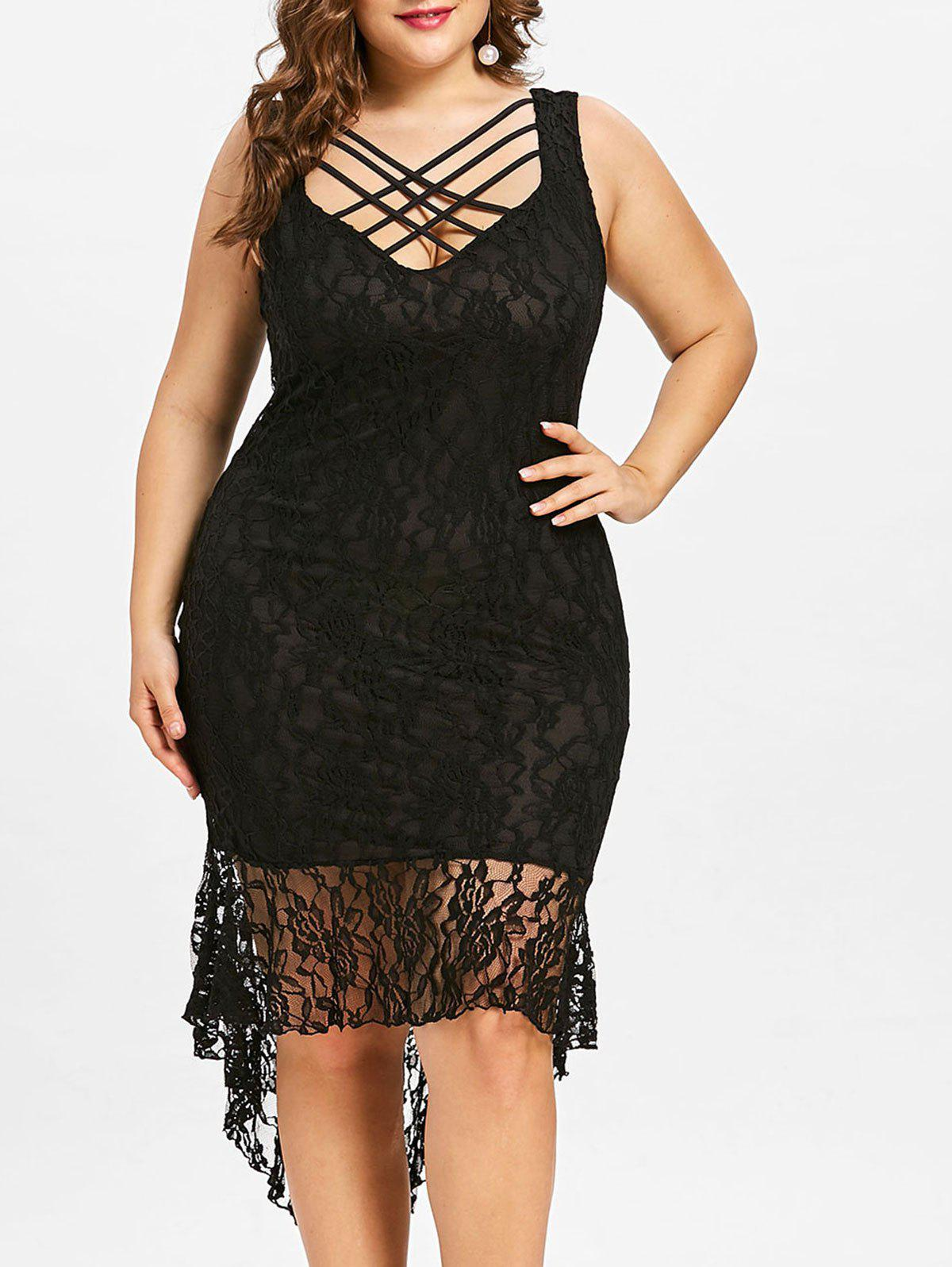 Affordable Plus Size Strappy Lace High Low Dress