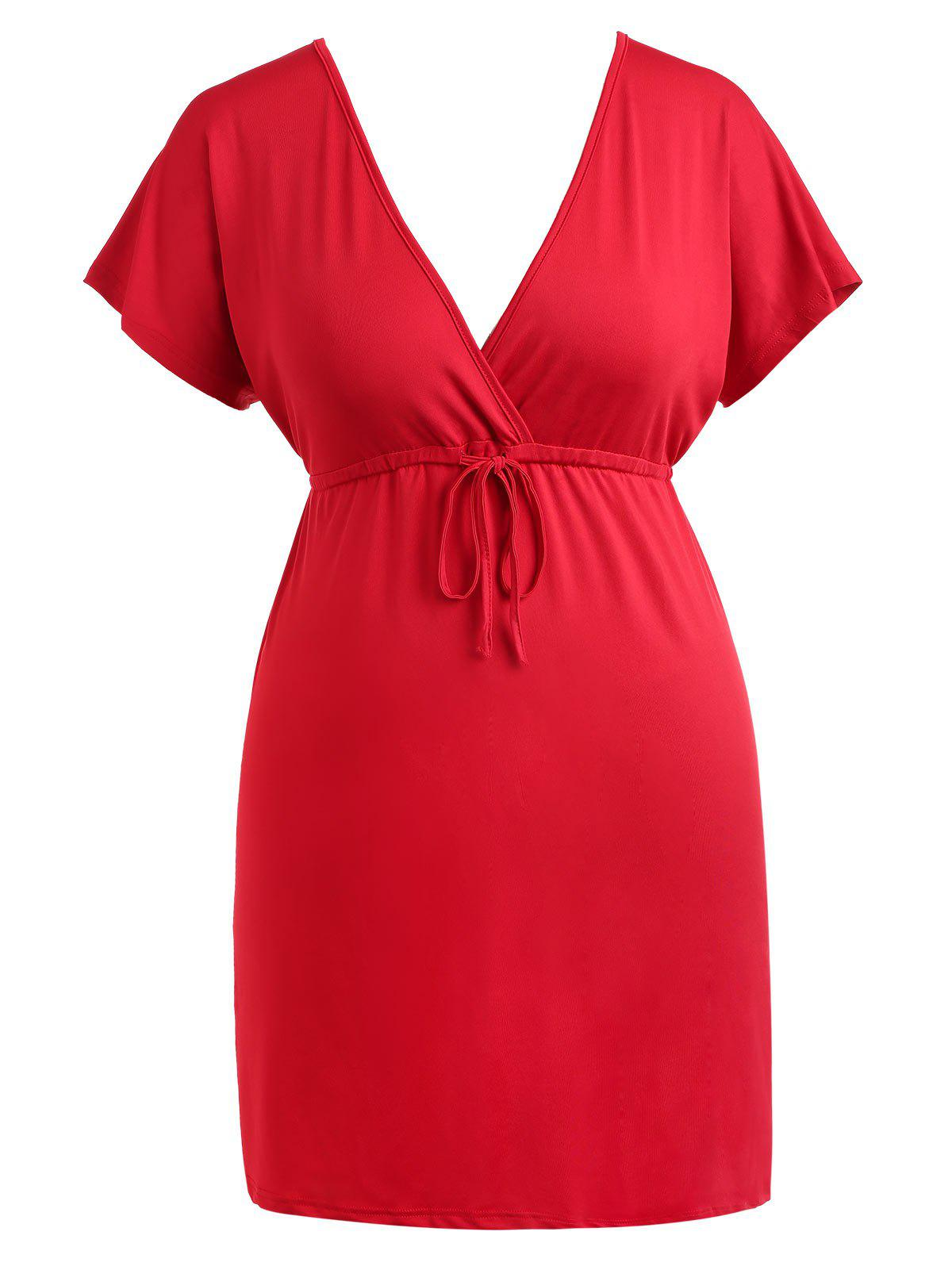 Latest Drawstring Waist Plus Size Plunge Mini Dress