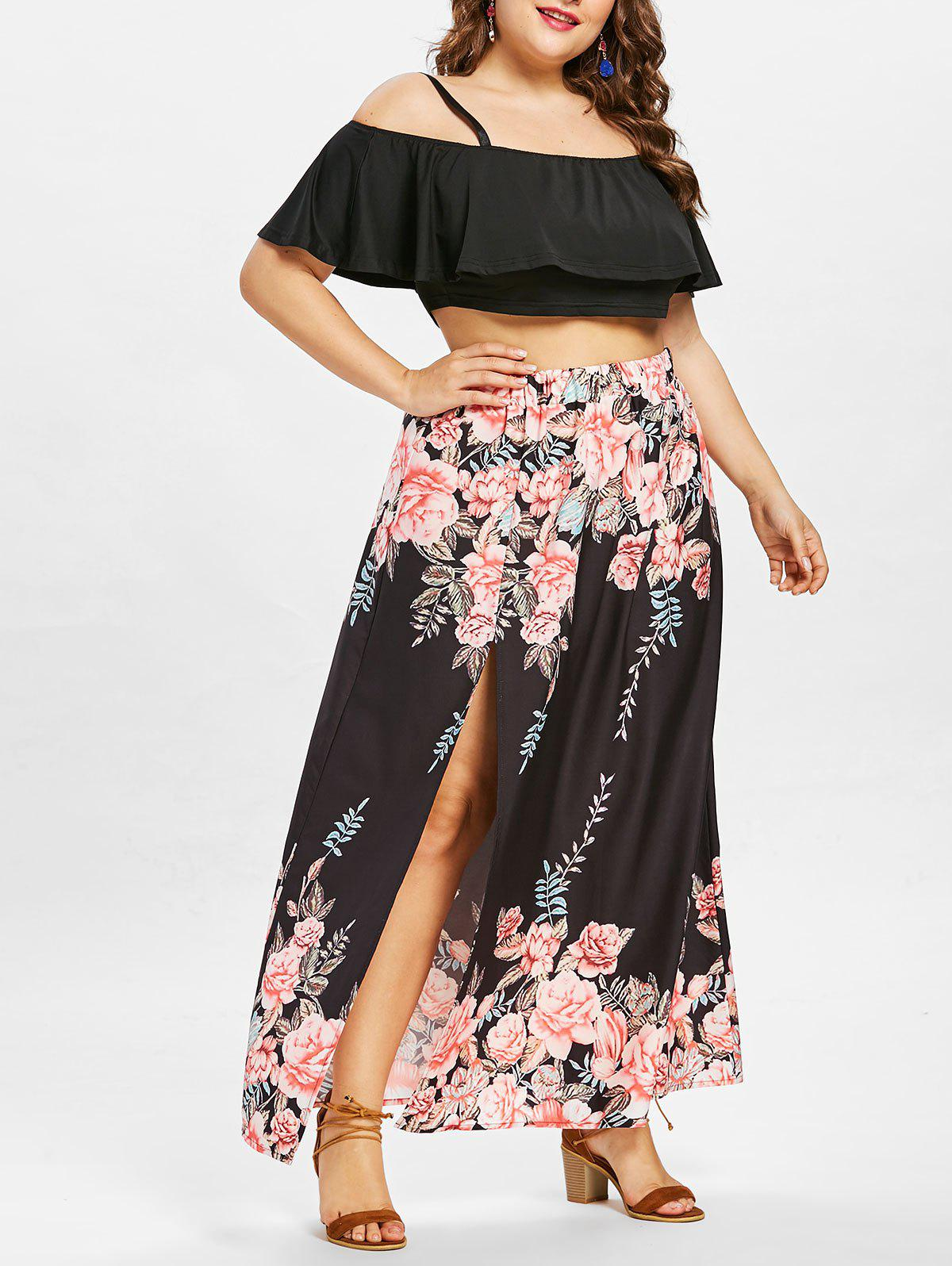 Online Plus Size Layered Crop Top with Floral Print Skirt