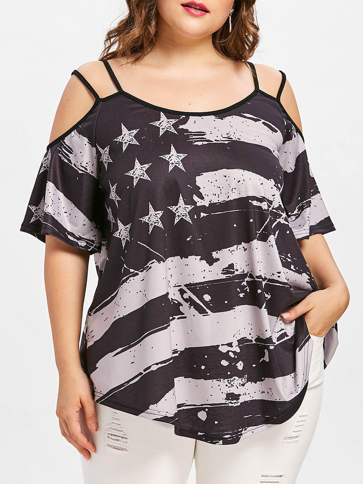 Fancy Plus Size American Flag T-shirt