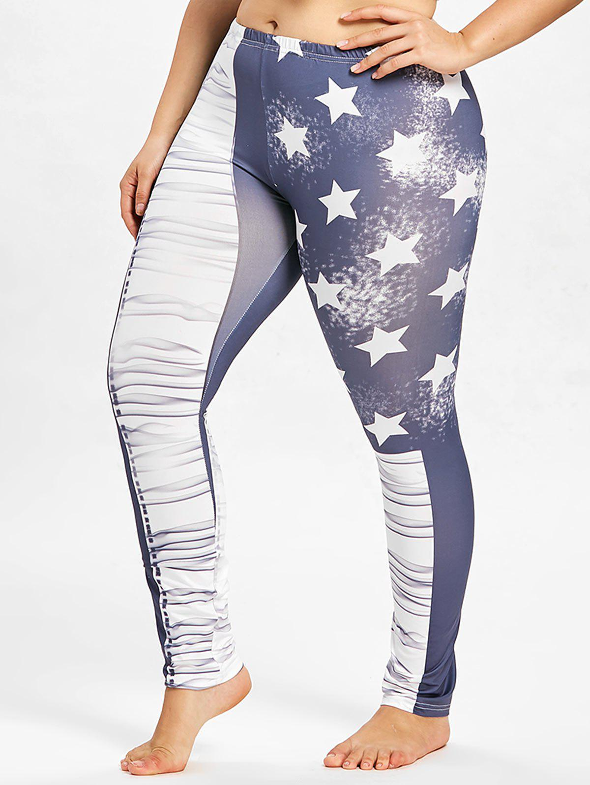 Fancy Plus Size Star Print Leggings