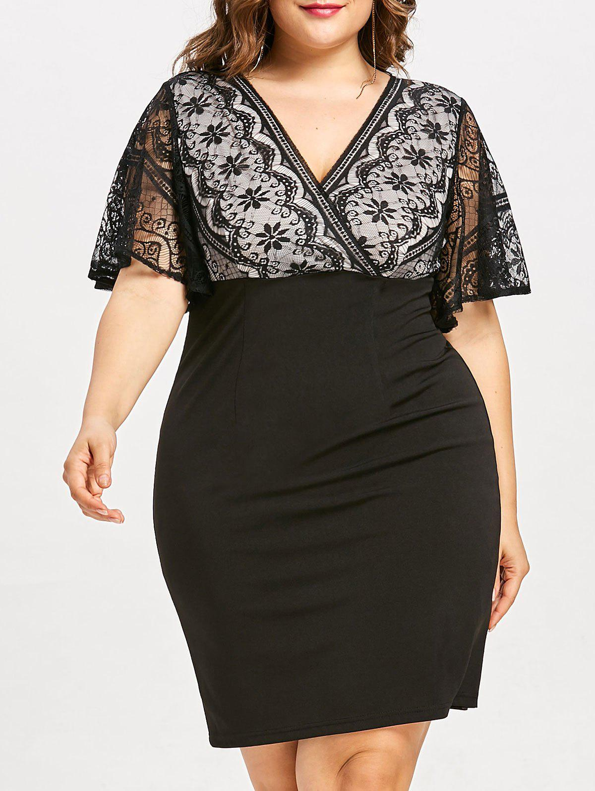 Fashion Plus Size Lace Insert Fitted Work Dress
