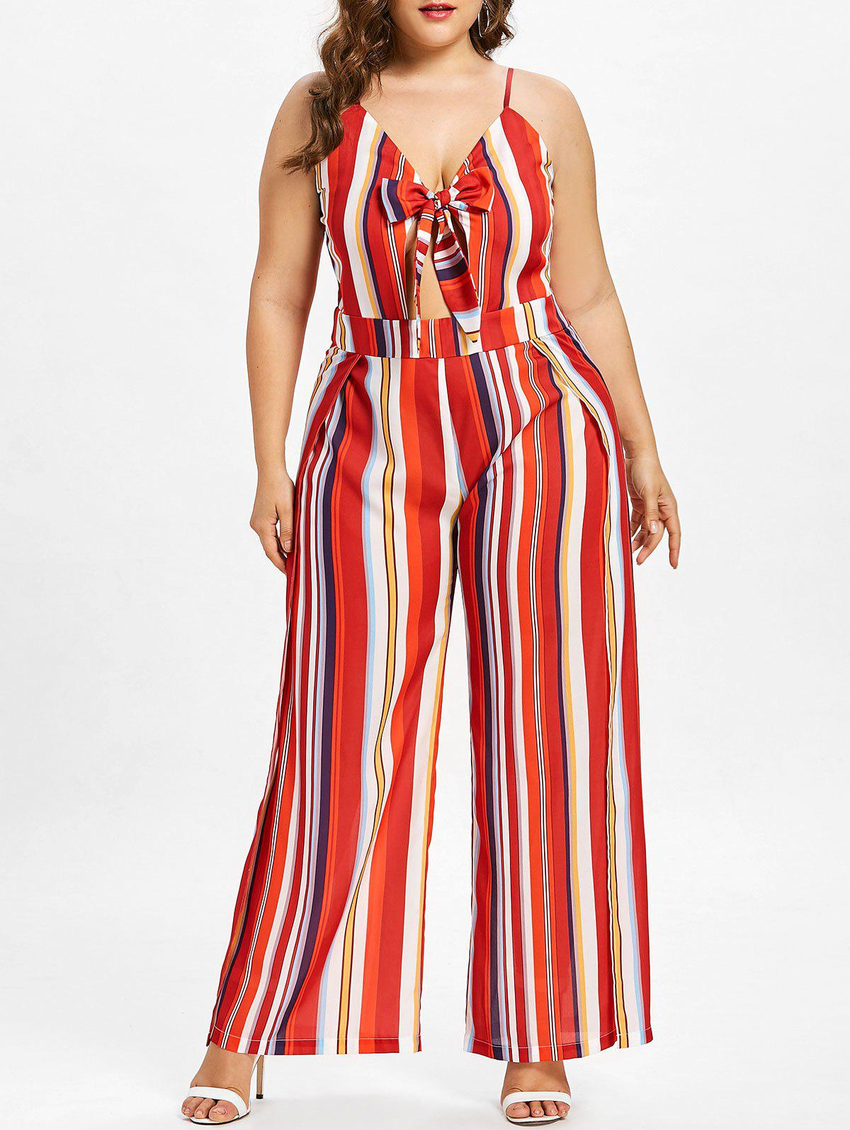 Outfit Plus Size Striped Tie Front Jumpsuit