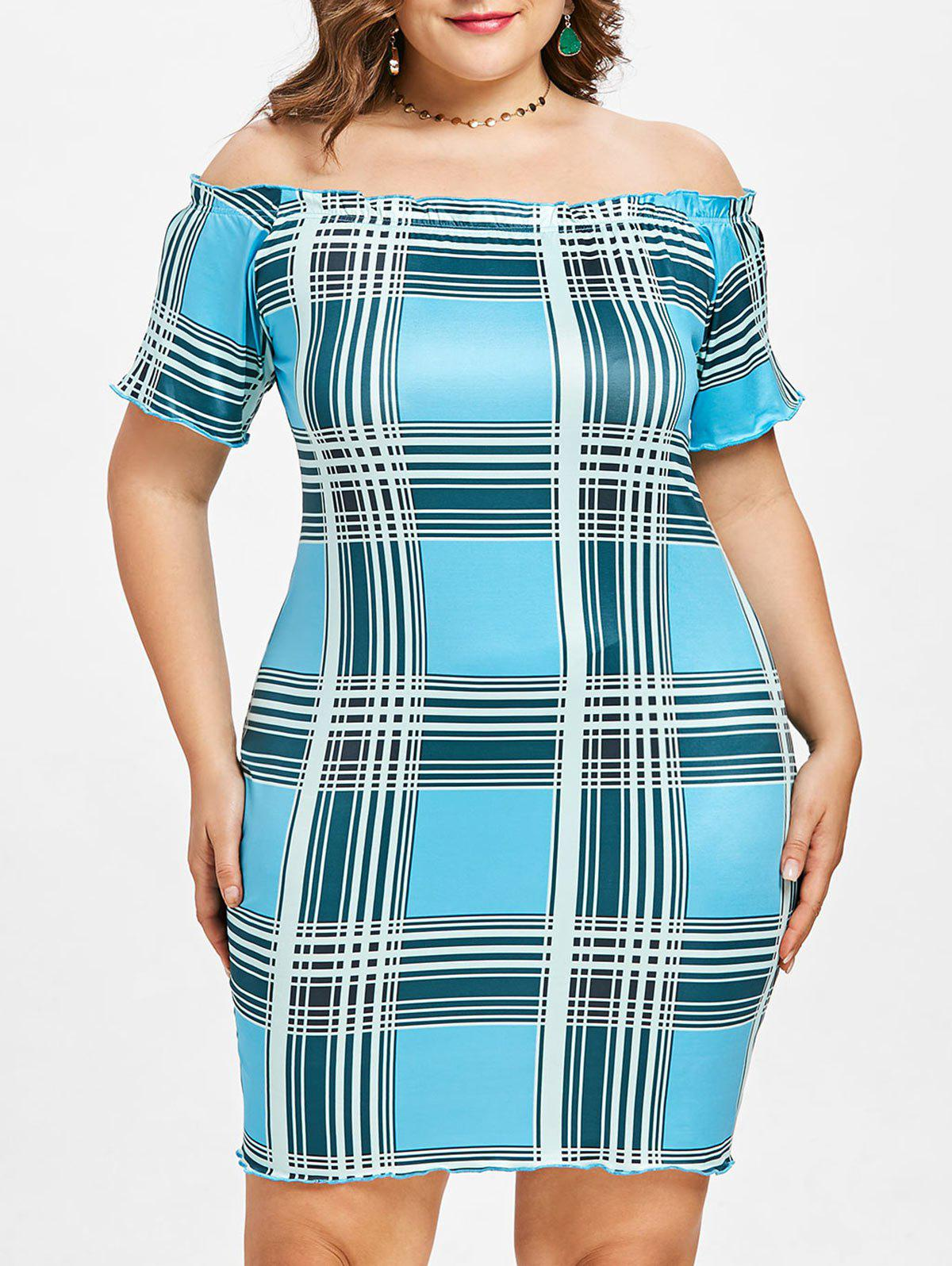 Fancy Plus Size Plaid Off Shoulder Dress