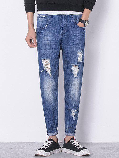 Discount Panel Bleached Broken Hole Zip Fly Jeans
