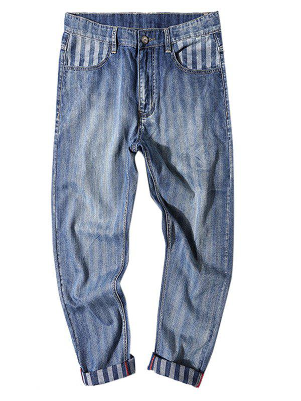Buy Stripe Print Fit Zipper Fly Nine Minutes of Jeans