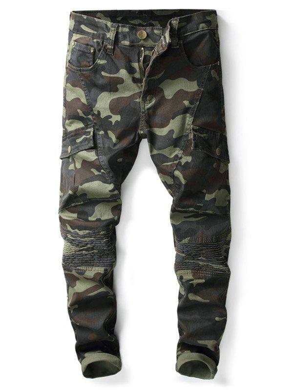 Online Zipper Fly Multi-pocket Camo Print Jeans