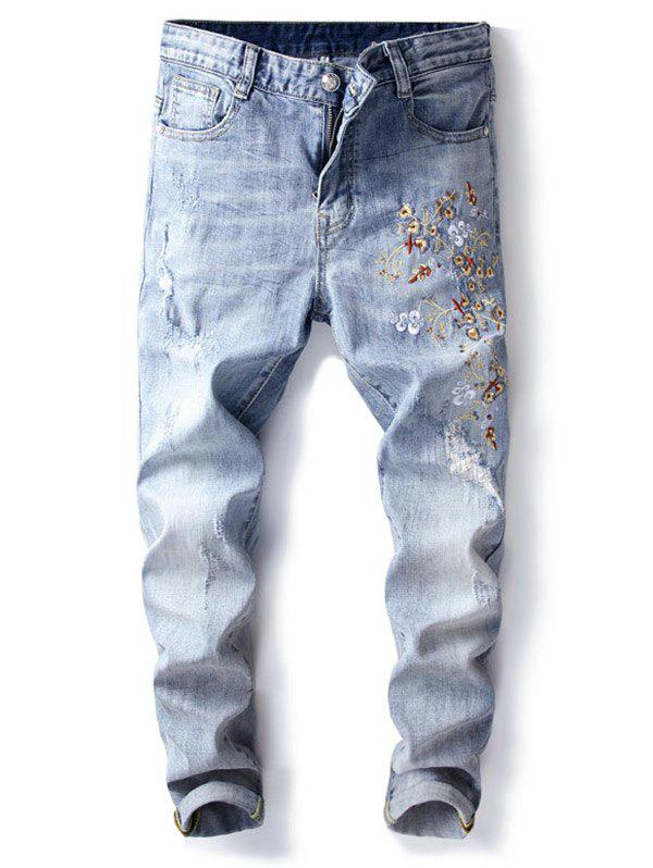 Fancy Distressed Flower Print Denim Jeans