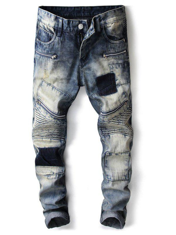 Discount Ripped Biker Slim Denim Jeans