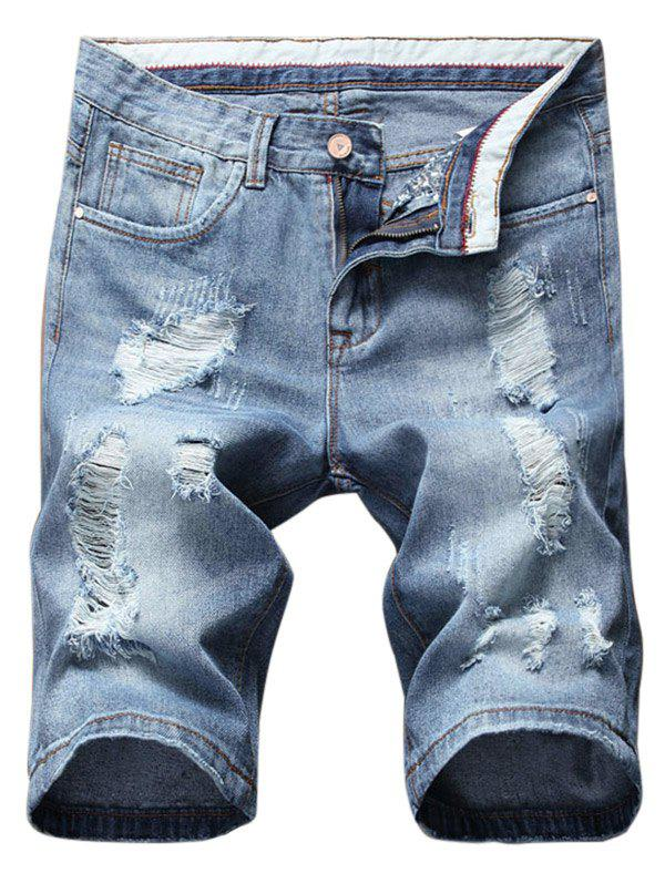 Cheap Distressed Zip Fly Casual Denim Shorts