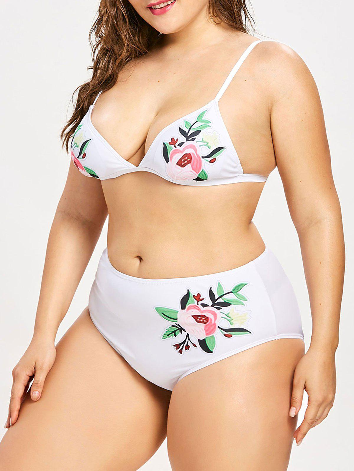 Shop Plus Size Flower Print Bikini Set