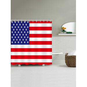 Waterproof Patriotic American Flag Printed Shower Curtain -