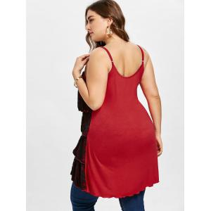 Плюс Размер Overlap Tiered Tunic Tank Вверх -